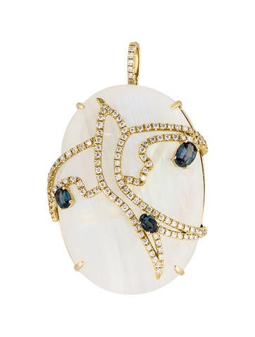 Labradorite, Alexandrite and Diamond Pendant