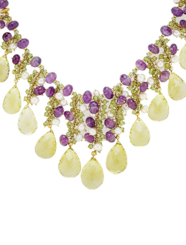 Peridot Amethyst And Pearl Necklace Necklaces Fjn10171