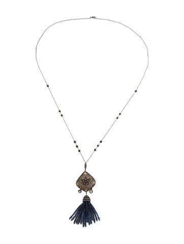 Fine Jewelry Necklace Diamond and Sapphire Tassel Pendant Necklace
