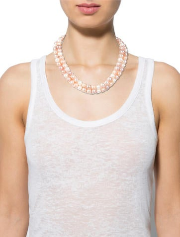 Pastel Cultured Pearl Double Strand Necklace