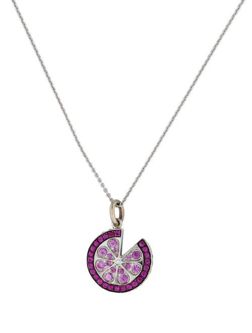 Pink & Yellow Sapphire Pendant Necklace white
