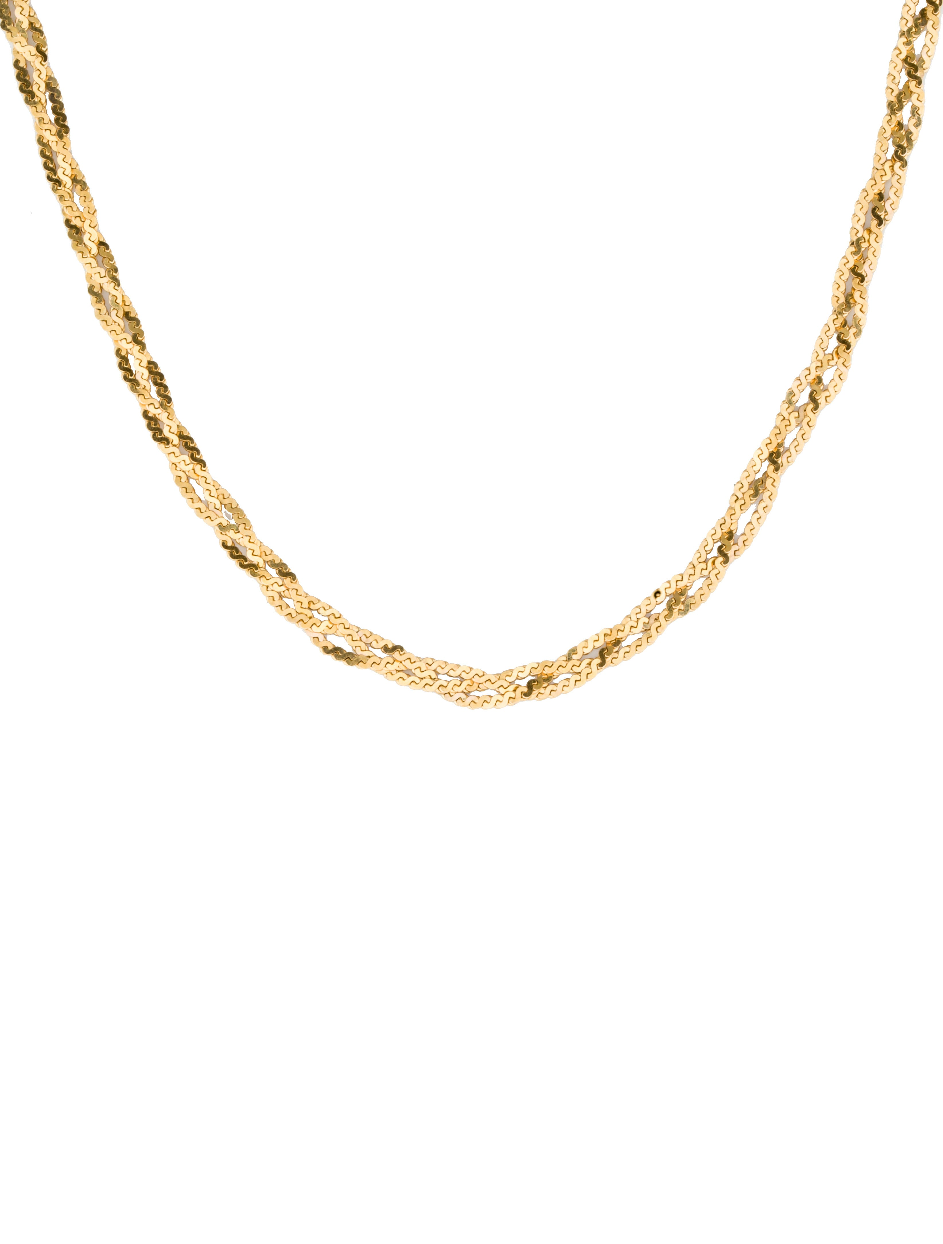14k Gold Braided Chain Necklaces Fjn23367 The Realreal