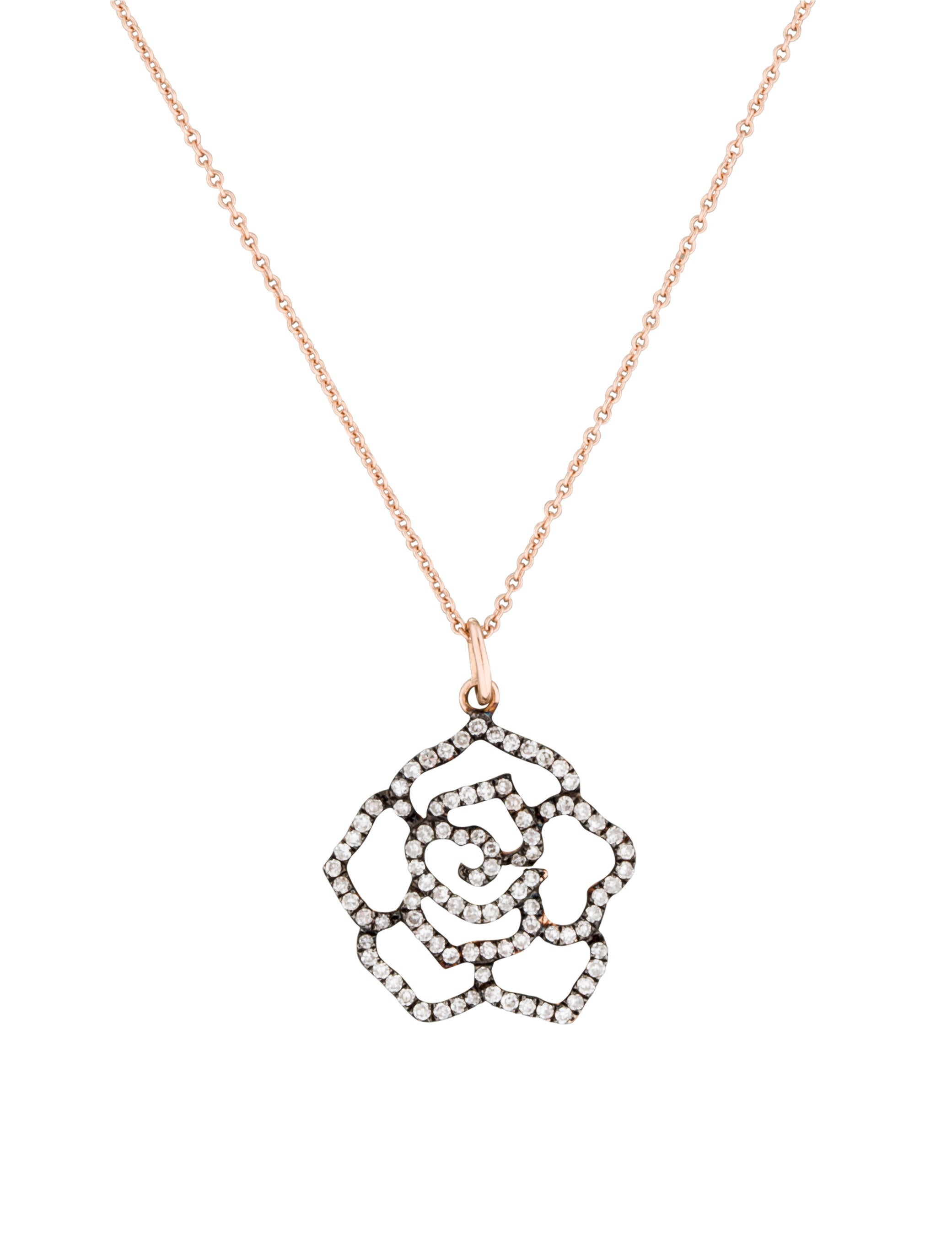 14k Diamond Flower Necklace Necklaces Fjn24334 The