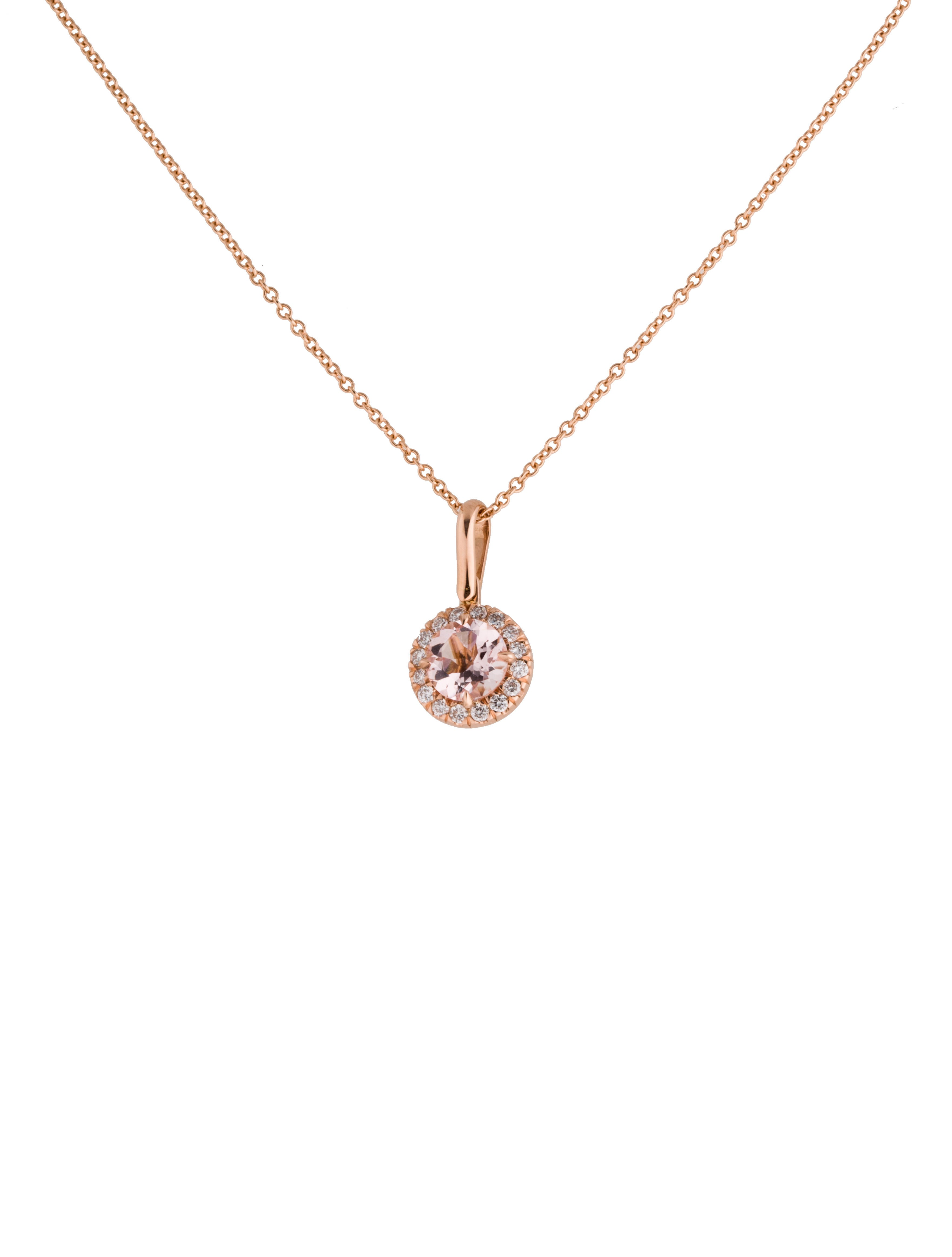 Fine jewelry necklace pink morganite and diamond necklace for Fine jewelry diamond pendants