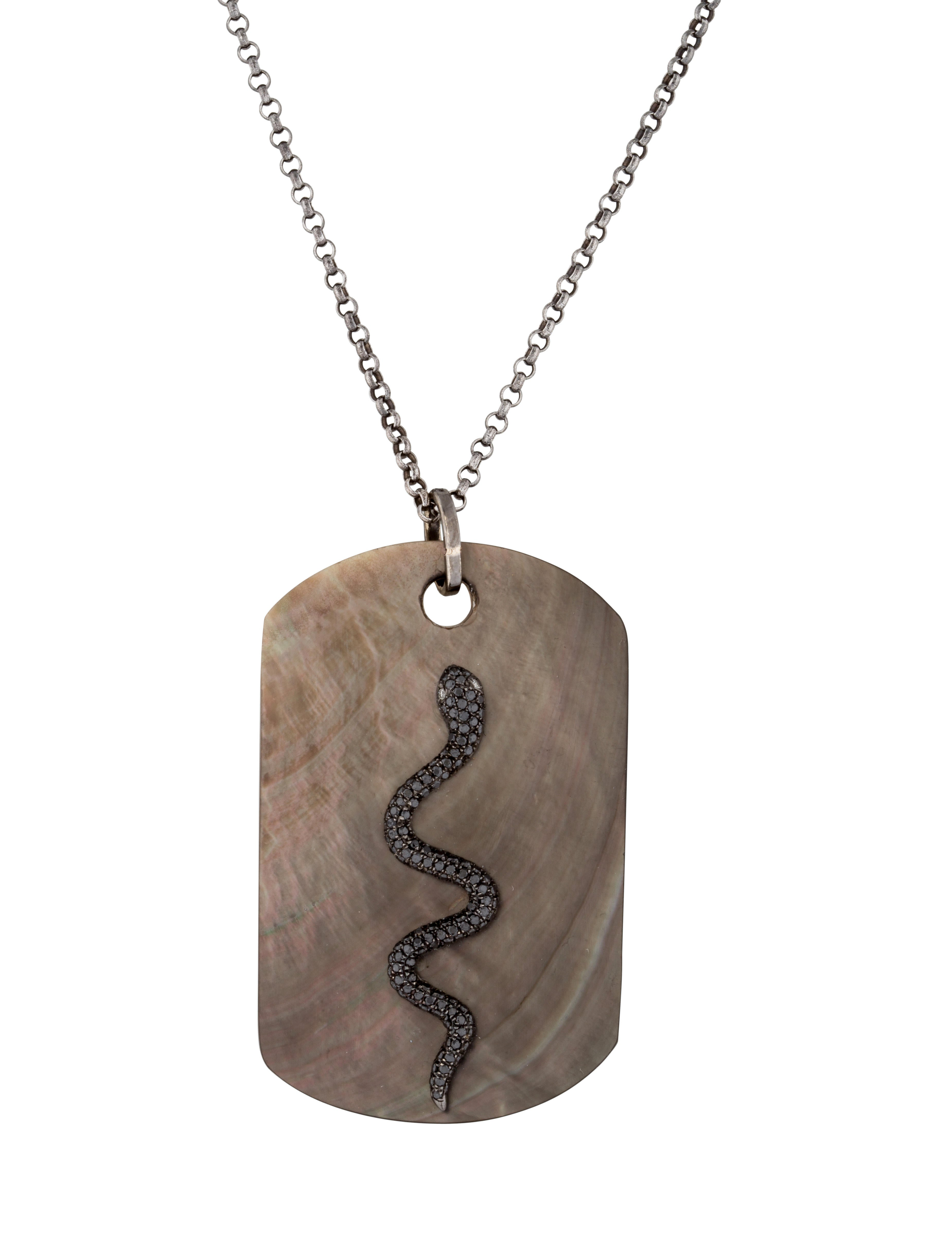 18k Snake Dog Tag Necklace Necklaces Fjn26365 The