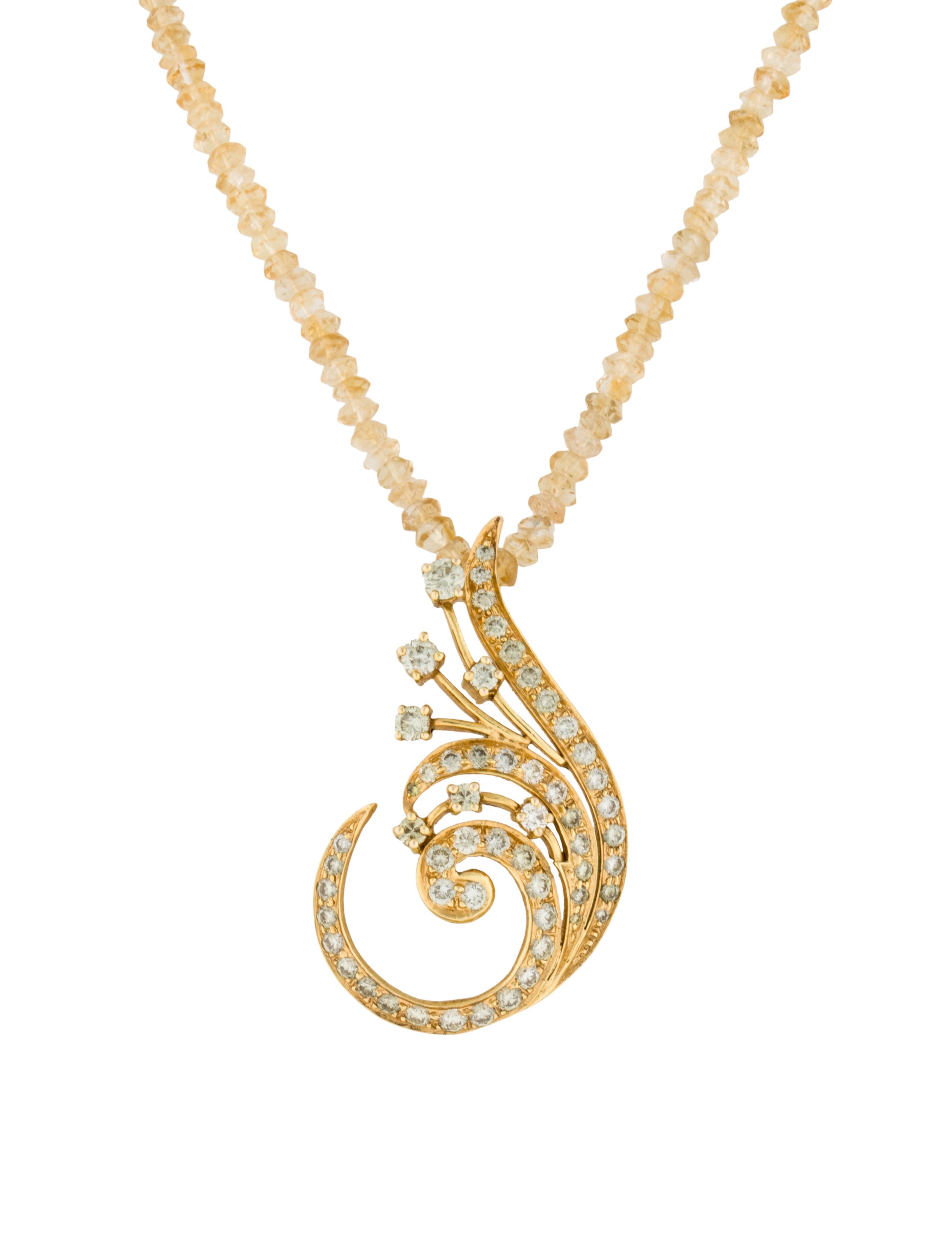 citrine bead and yellow diamond swirl pendant necklace