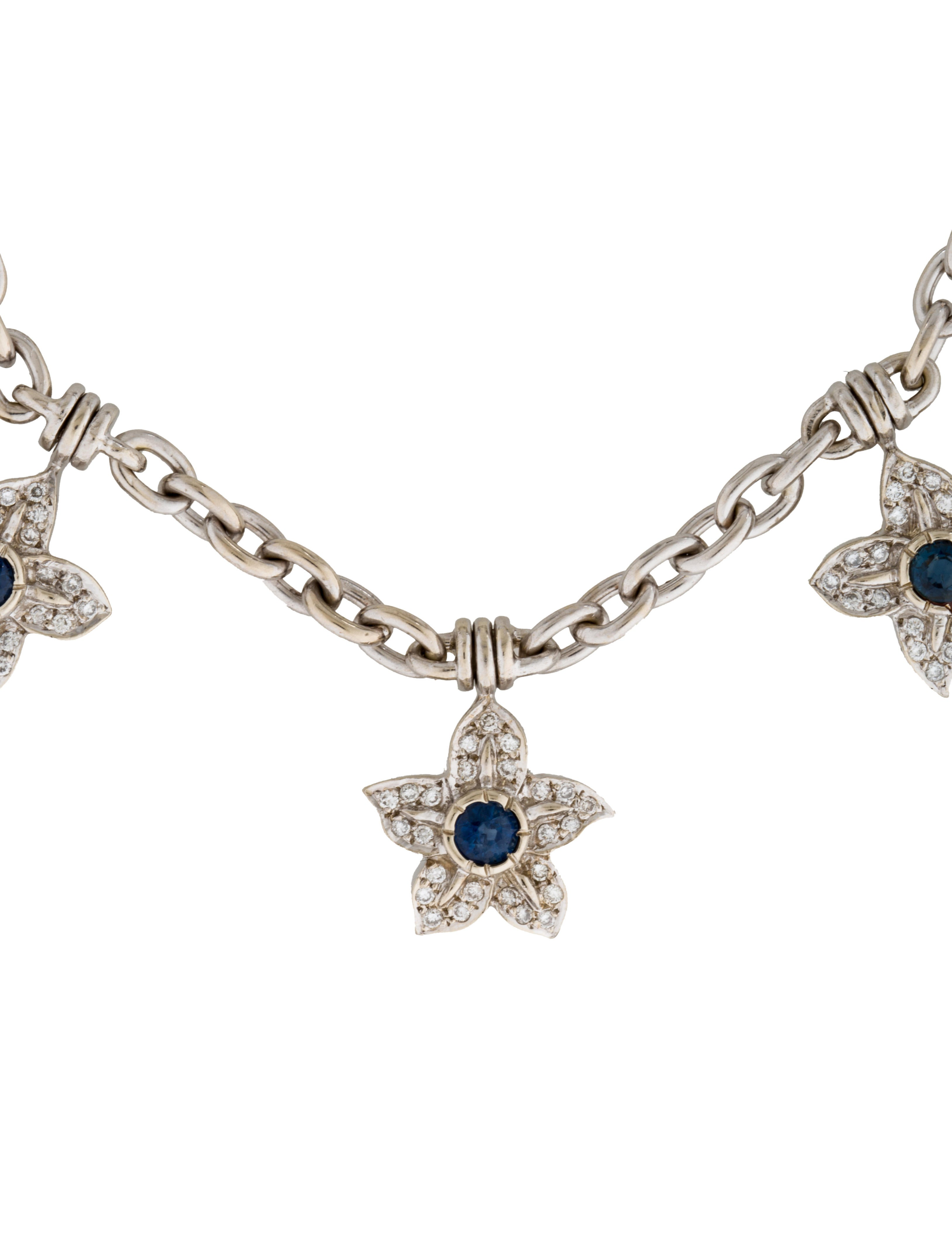 Fine jewelry necklace 14k diamond sapphire flower collar for Fine jewelry diamond pendants