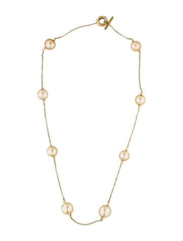 Yellow Gold Cultured Pearl Station Necklace