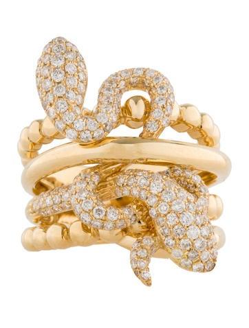 Two Headed Diamond Snake Ring 1.40ctw