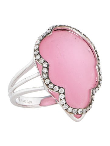 Pink Quartz and Diamond Ring