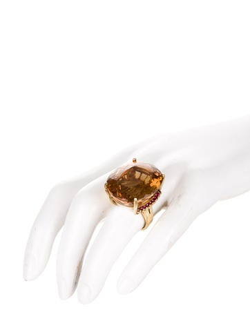 Citrine and Ruby Ring