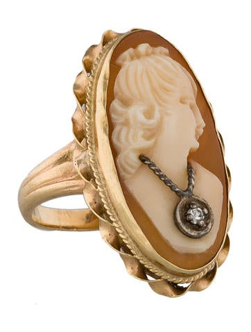 Carved Cameo & Diamond Pinky Ring
