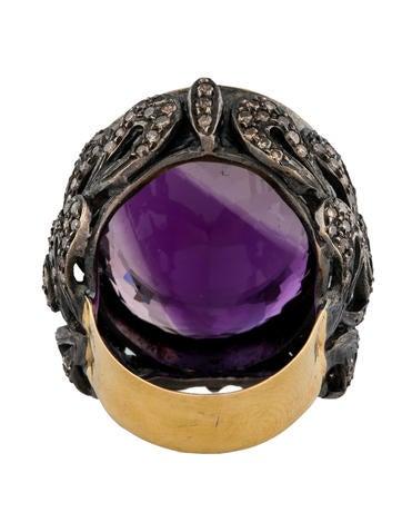 39ctw Amethyst & Diamond Scroll Ring