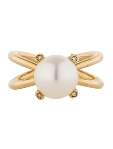 Split Shank Pearl and Diamond Ring With Tags