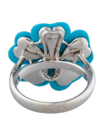 Turquoise Petal Flower & Diamond Ring