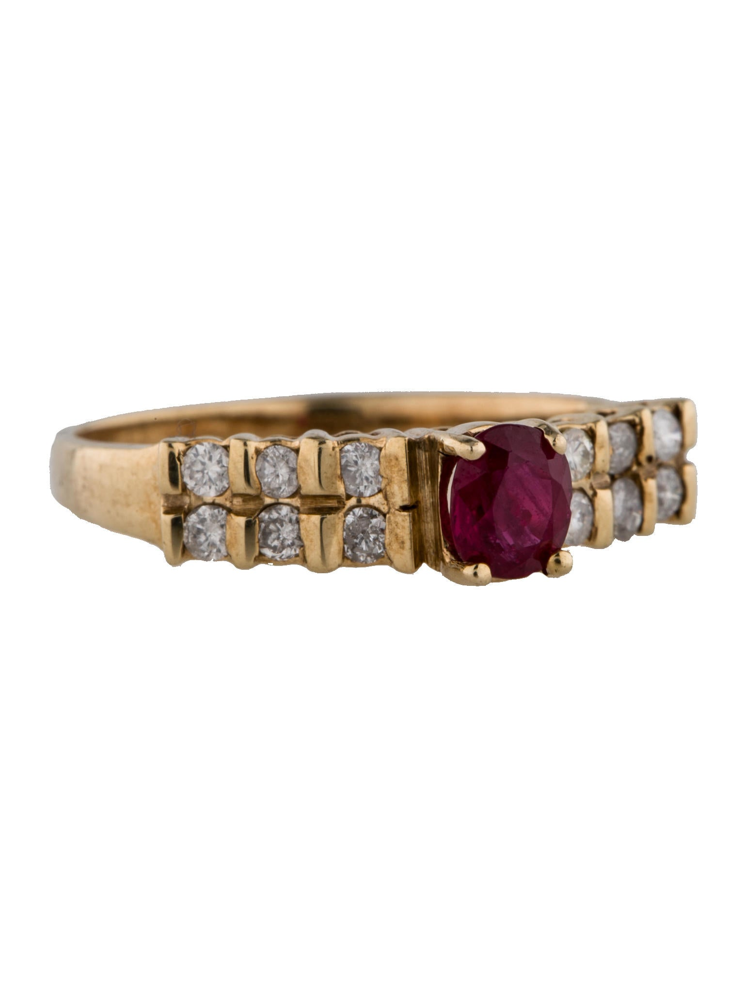 Fine jewelry ring ruby and diamond yellow gold ring for Fine jewelry diamond pendants