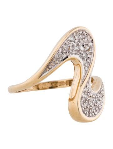 Two-Tone 14K Diamond Wave Ring