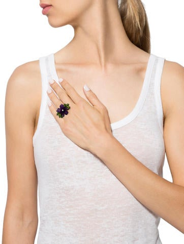 Amethyst and Diamond Floral Ring