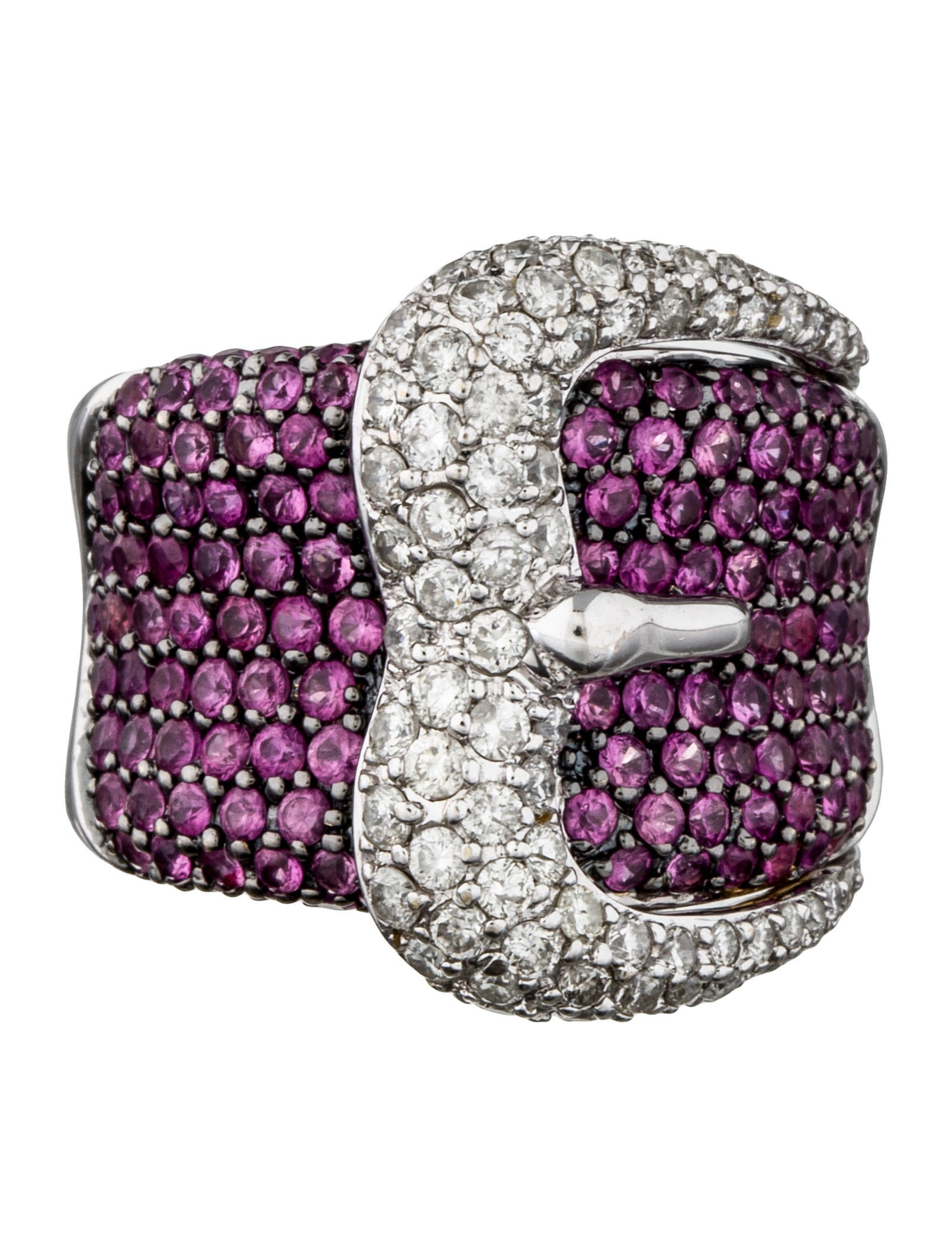 Pink Sapphire Amp Diamond Buckle Ring Rings Fjr27454