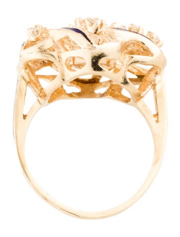 14K Blue Enamel Diamond Swirl Ring