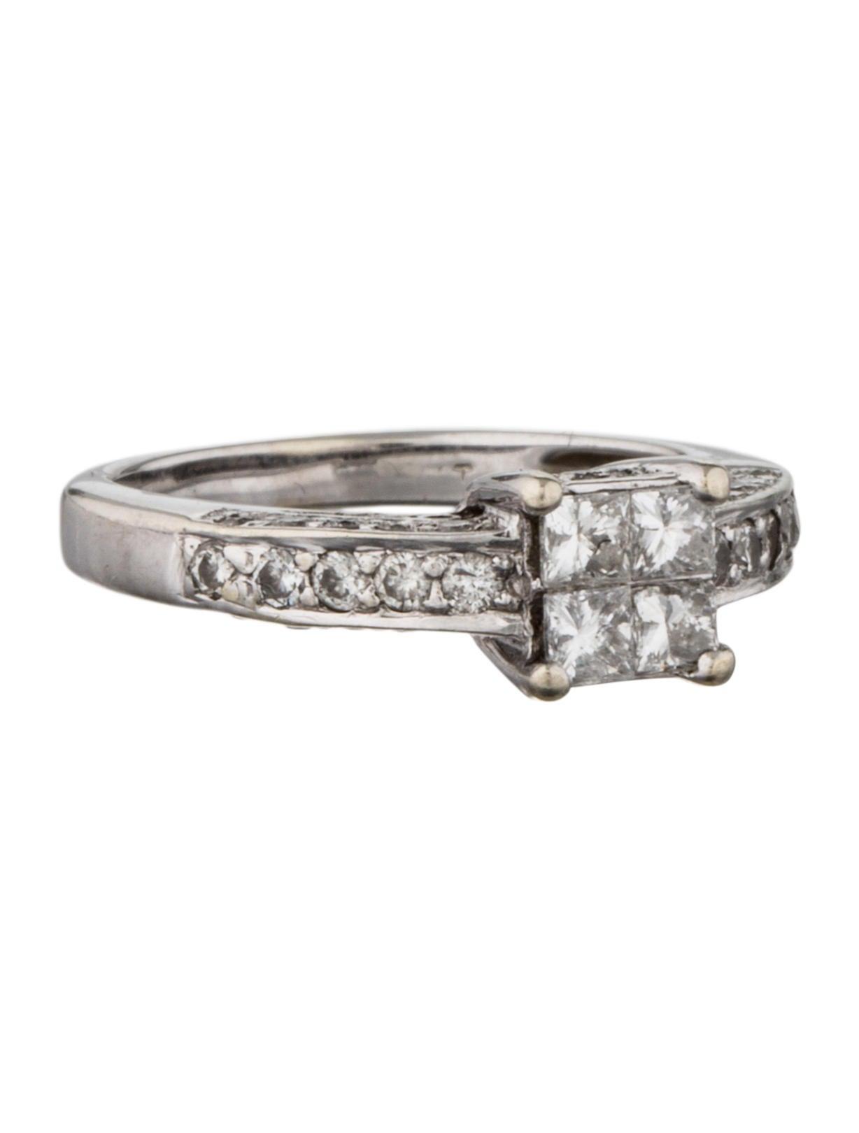 diamond cluster engagement ring rings fjr28077 the. Black Bedroom Furniture Sets. Home Design Ideas
