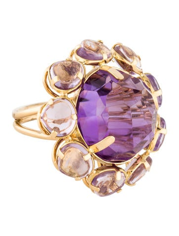 18K Amethyst Cocktail Ring None