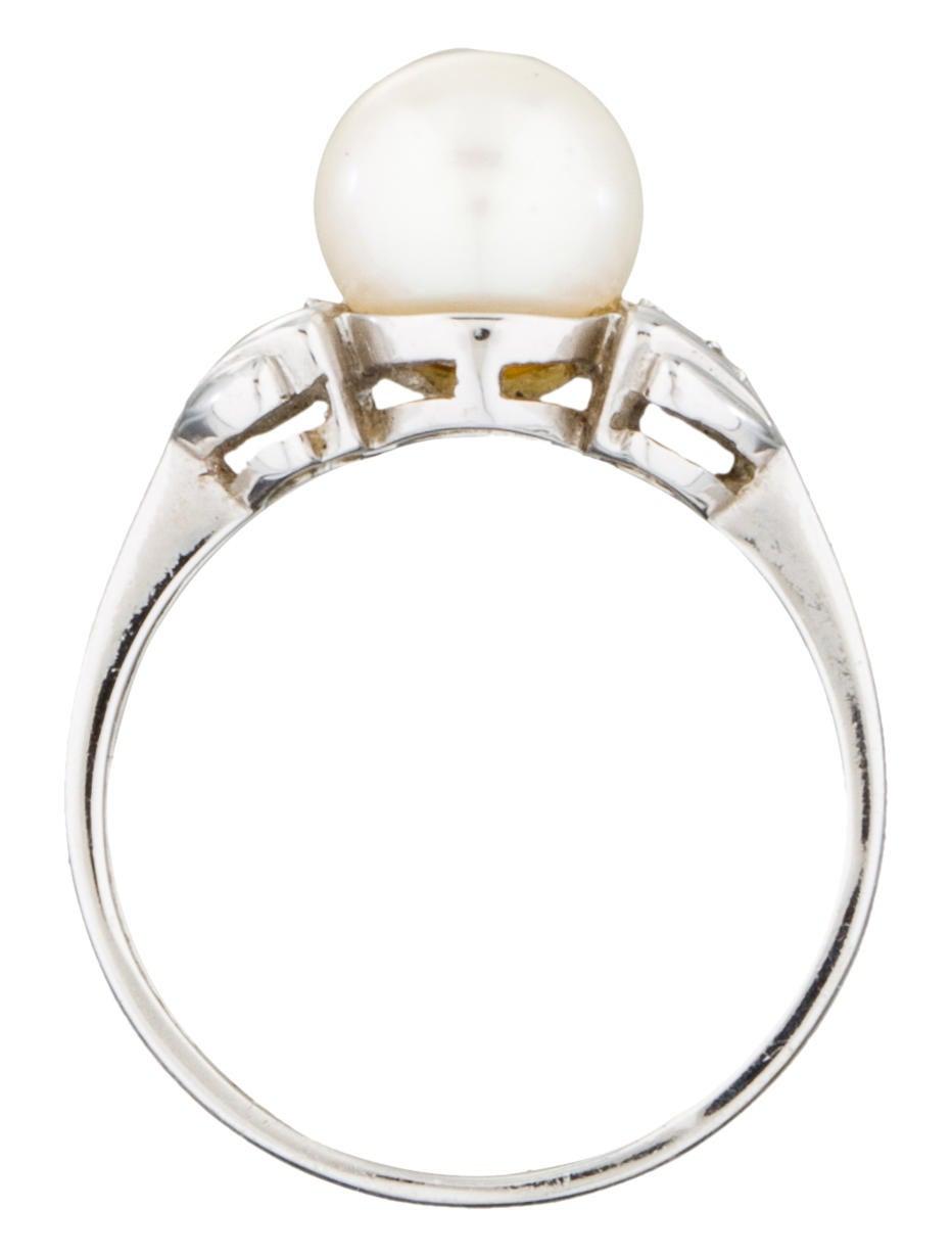 14k diamond pearl ring rings fjr28757 the realreal. Black Bedroom Furniture Sets. Home Design Ideas