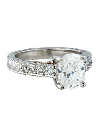 Platinum Cushion Cut Engagement Ring