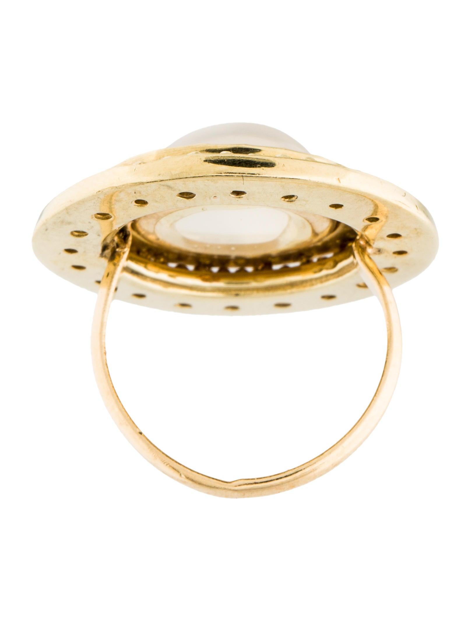 14k cat 39 s eye moonstone diamond cocktail ring rings for Cat s eye moonstone jewelry