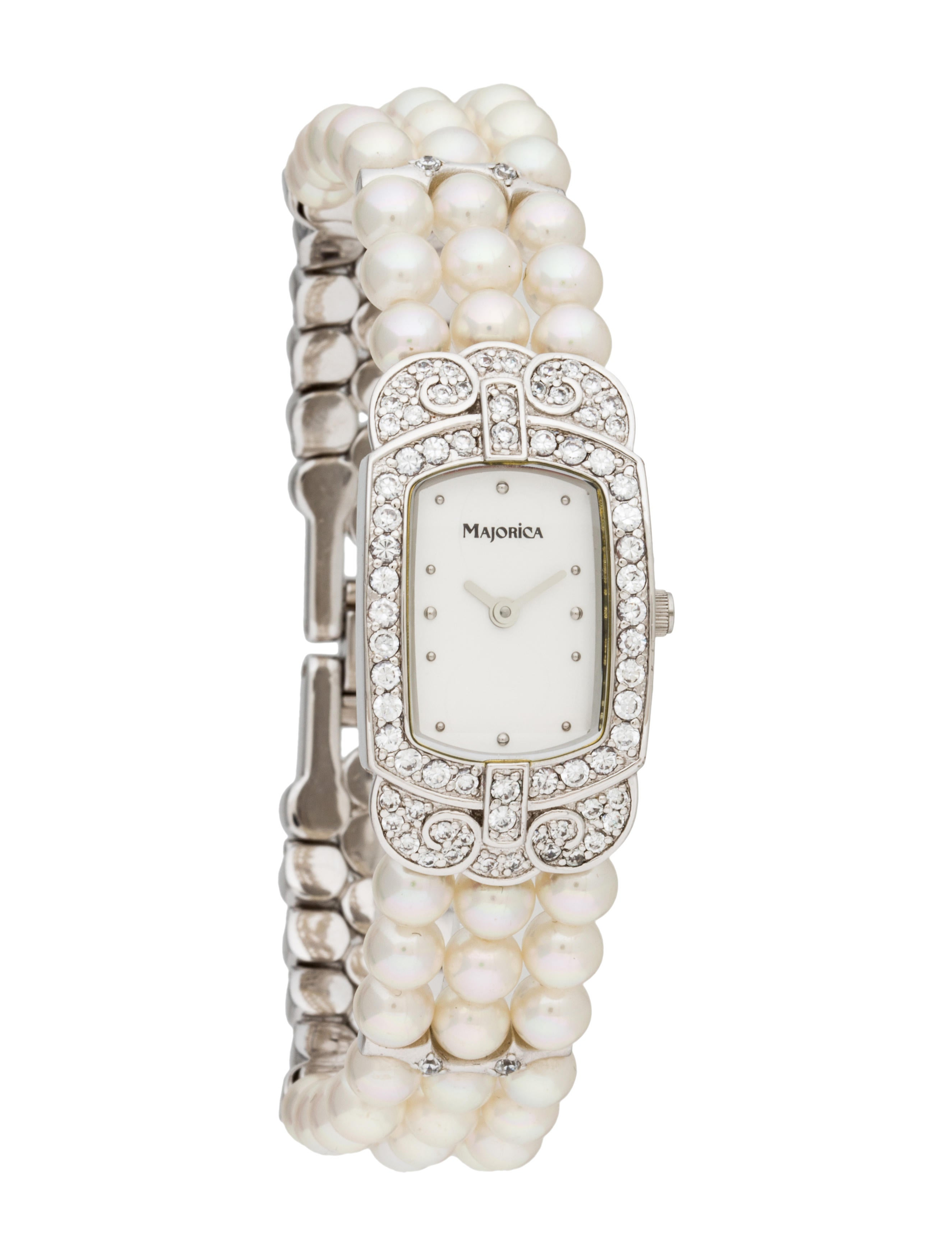 Majorica pearl bracelet watch bracelet fjw20176 the realreal for Pearl watches