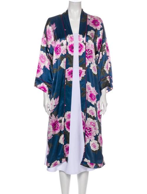 Fleur Du Mal Silk Floral Print Robe Blue