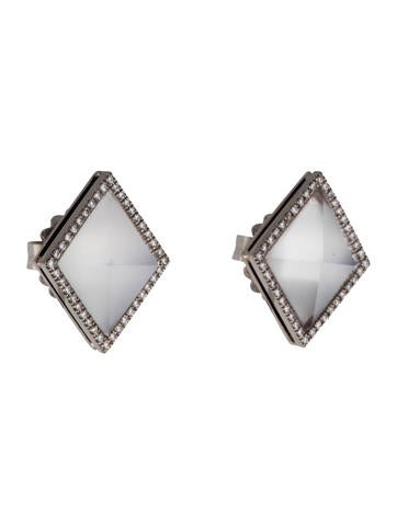 18K Faceted Moonstone and Diamond Stud Earrings