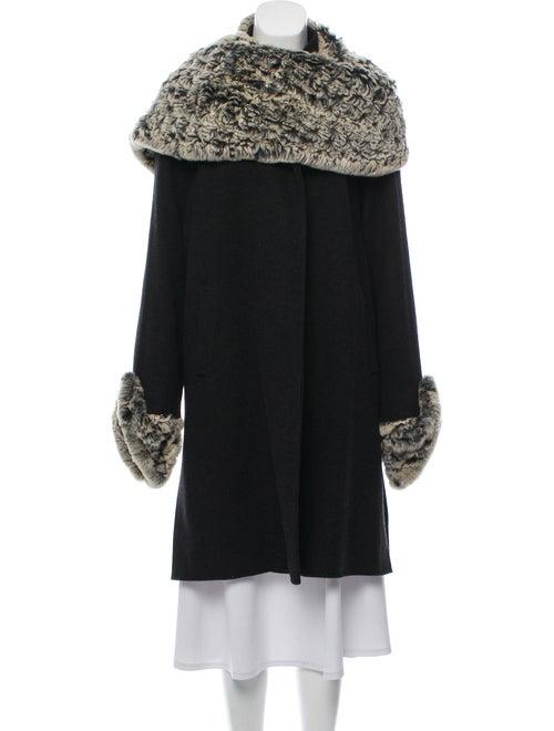 Fleurette Fur-Trimmed Camel Hair Coat Black