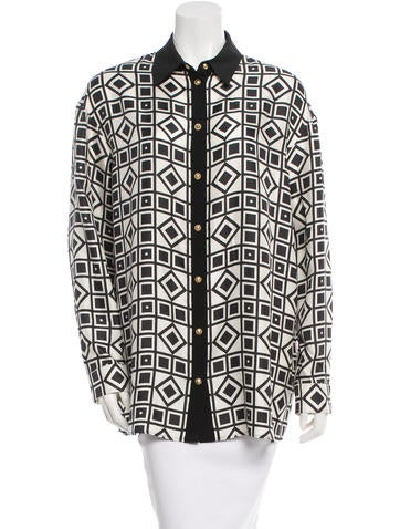 Fausto Puglisi Silk Printed Button-Up Top w/ Tags None
