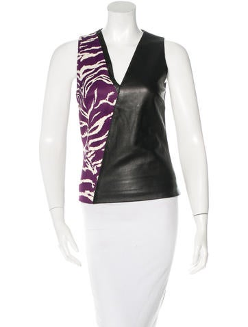 Fausto Puglisi Leather Sleeveless Top None