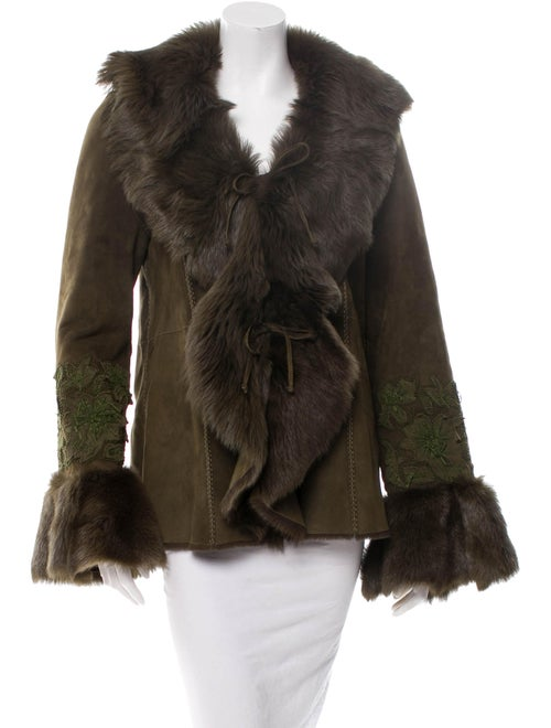 Embroidered Shearling Jacket Green