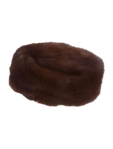 Knit-Trimmed Mink Beret None