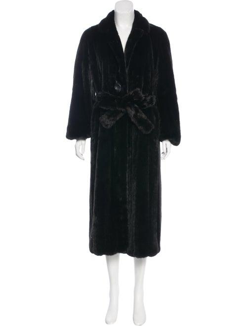Fur Mink Belted Coat Brown