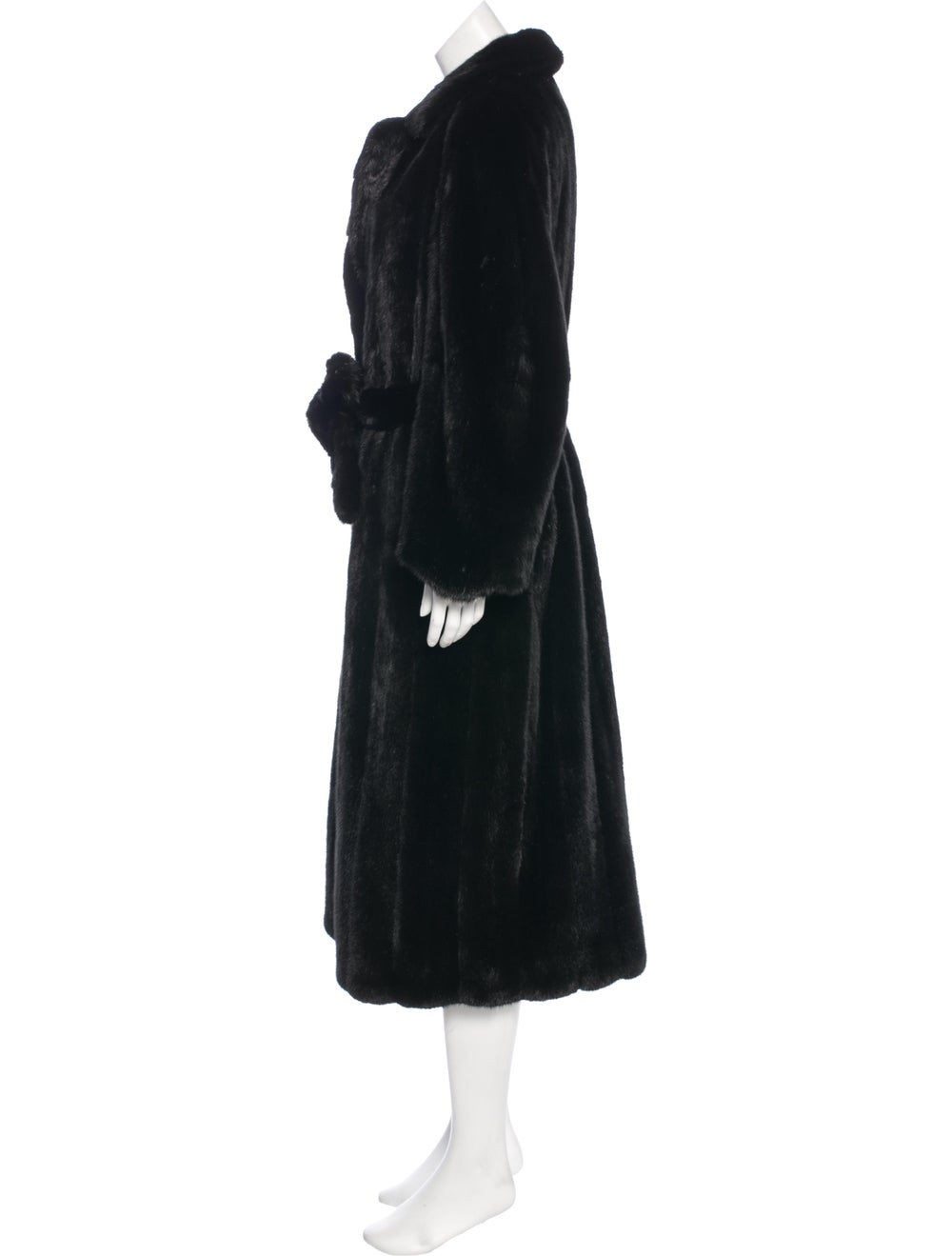 Fur Mink Belted Coat Brown - image 2