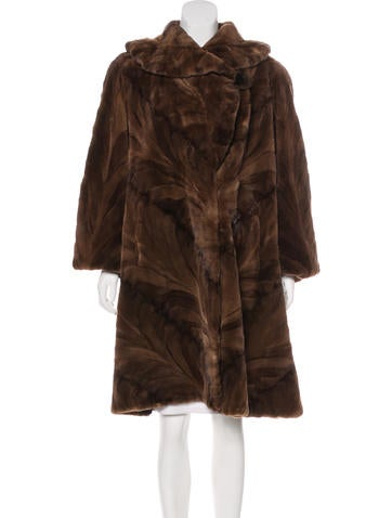 Pieced Sheared Mink Swing Coat None