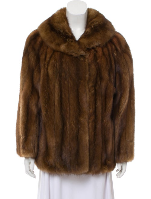Sable Fur Shawl Collar Jacket Brown