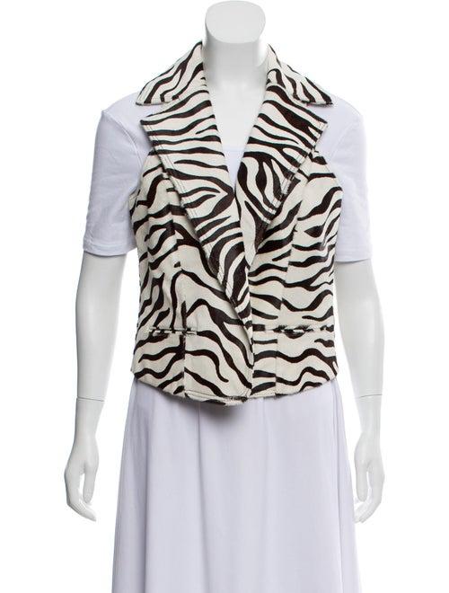 Zebra Print Ponyhair Vest White