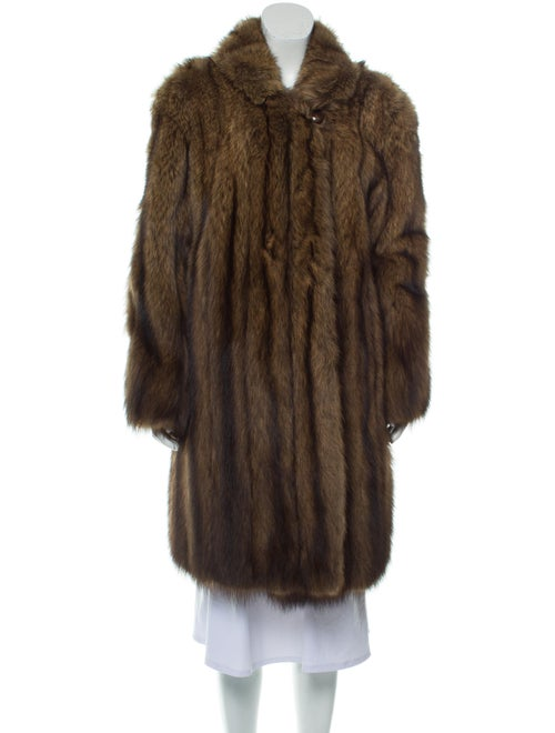 Fur Shawl-Collar Fur Coat Brown