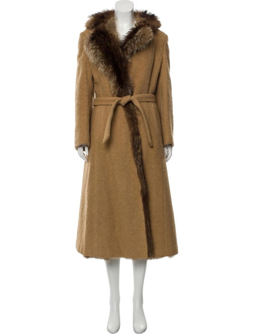 Fur Camel Hair Fur-Lined Coat Tan