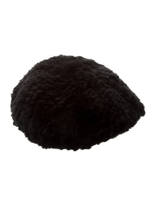 Fur Knitted Fur Beret Black