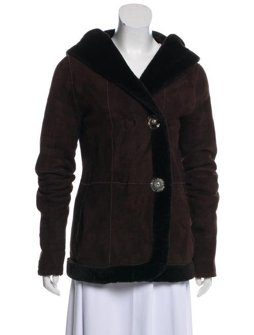 Fur Hooded Shearling Jacket Brown