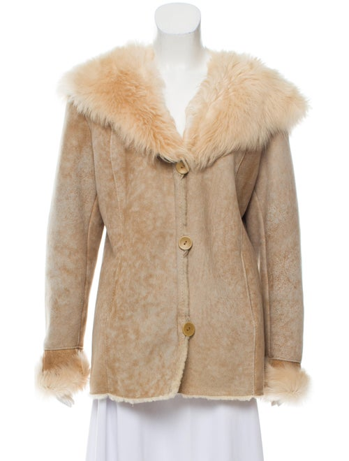 Shearling Hooded Jacket Beige