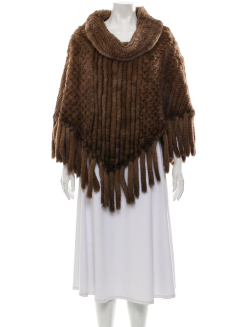 Knitted Mink Fur Poncho Brown