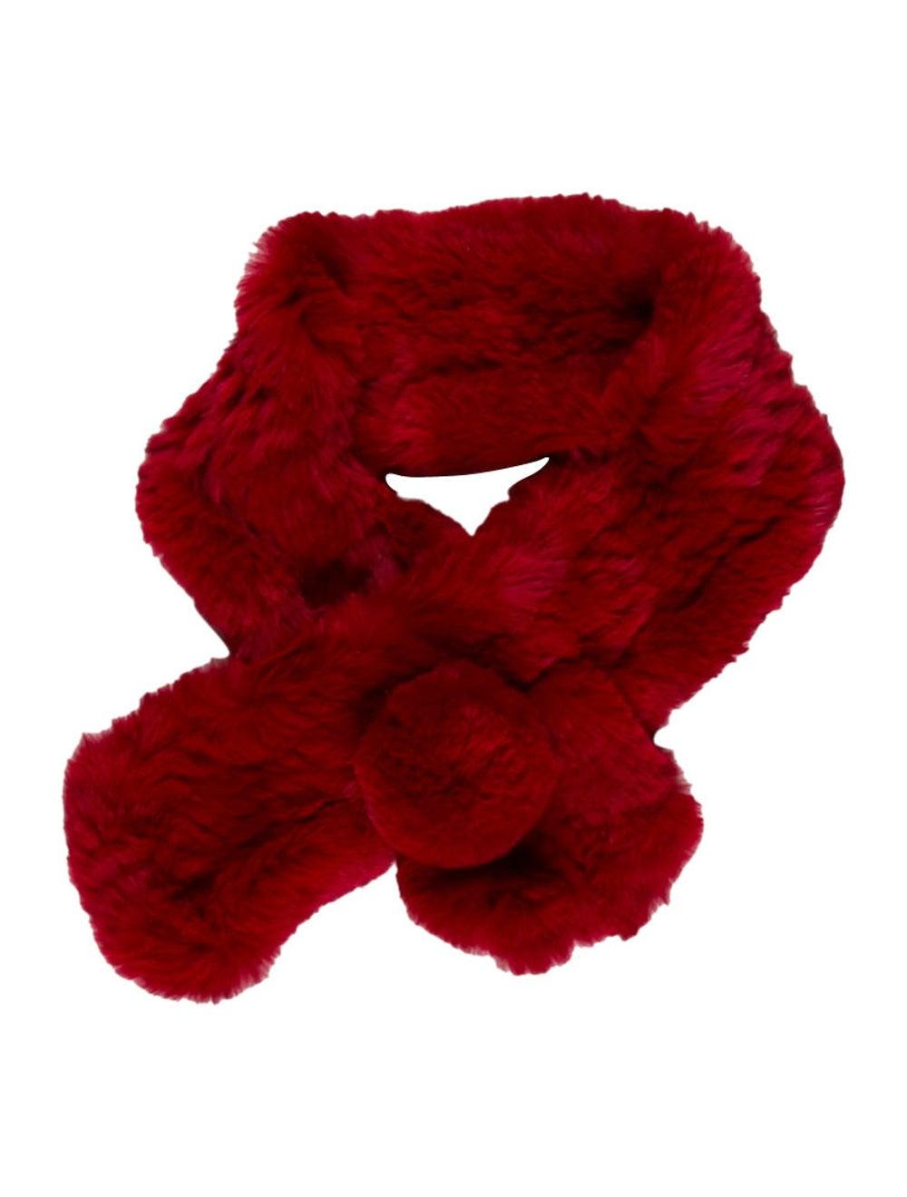 Fur Rabbit Fur Stole Red - image 1