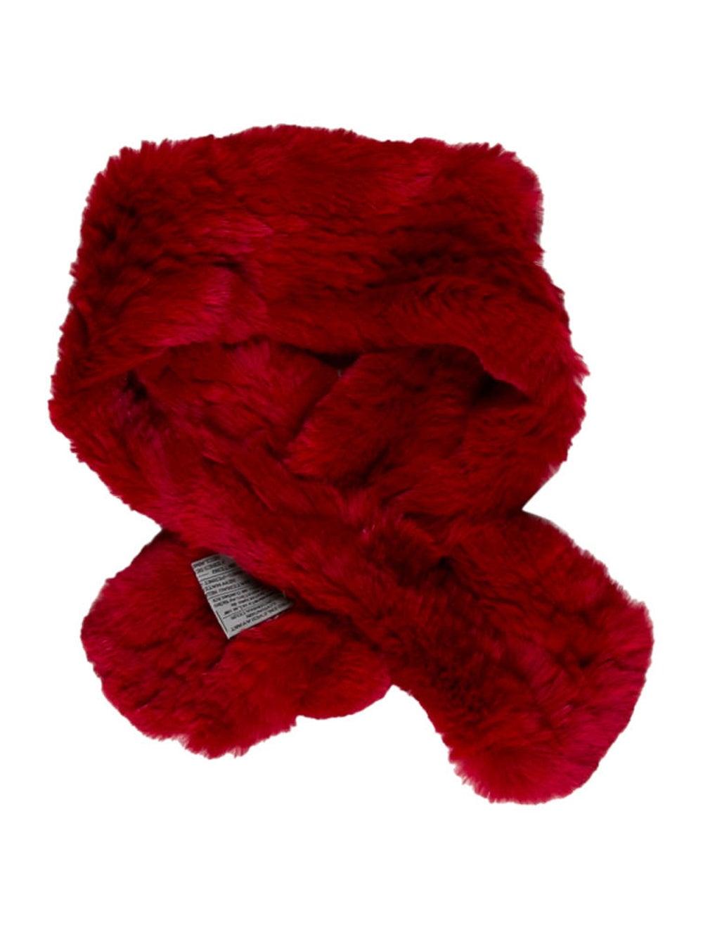 Fur Rabbit Fur Stole Red - image 2